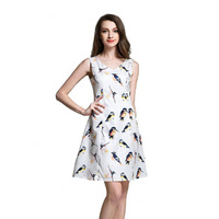 2016 Summer Casual Dresses For Women Ladies Multicolor Bird Print Sleeveless V Neck Straight Short Dress