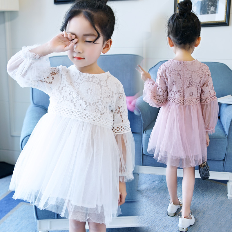 2018 new fashion spring girls dresses baby 3 - 14 years old lace dress child clothing children clothes mesh dress
