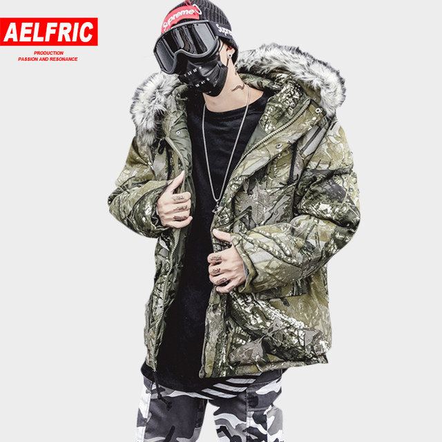 Flash Sale AELFRIC With Fur Trim Hood Warm Parkas Men Winter Thick Skateboard Jackets Desieners Streetwear Camo Hip Hop Parka Overcoat QA25
