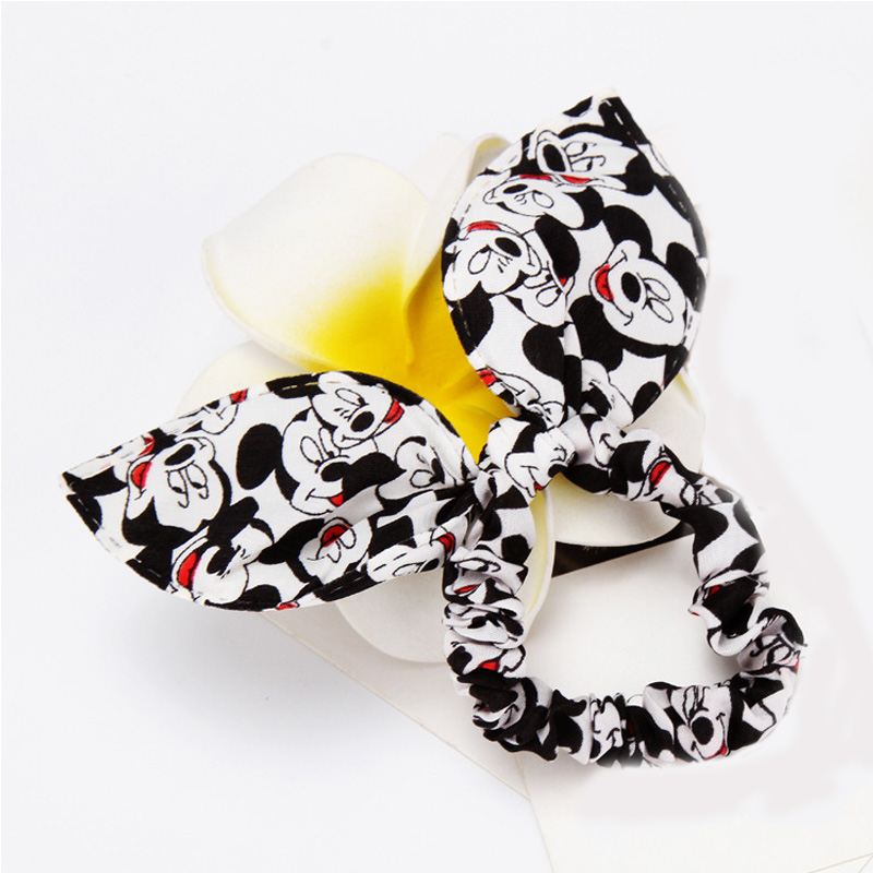 Girl headwear Mickey bow Hair Holders Lady Rubber ring Gum Headbands Rope Scrunchy Elastic Hair Bands Accessories for Women Head free shipping 10pcs lot new adult elastic hair bands women headwear for girls hair rope headbands accessories 14 colors 15cm
