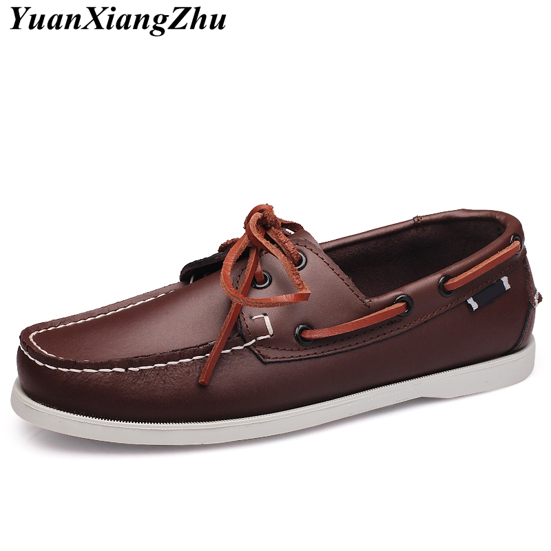 2018 Brand Design Hand Sewing Slip On Mens Loafers Casual Driving Moccasins Business Men Shoes Genuine Leather Men Boat Shoes 45