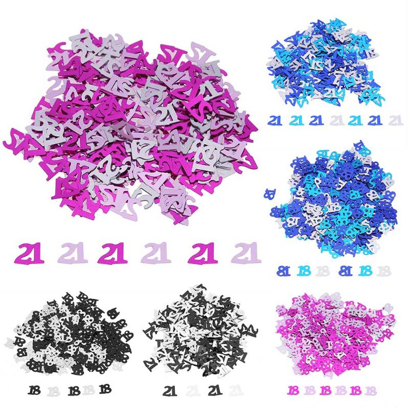 600pcs/Bag <font><b>18</b></font>/21 Number Confetti Scatters <font><b>Birthday</b></font> Confetti Table Ornament <font><b>Birthday</b></font> Party Wedding <font><b>Decoration</b></font> Supplies image