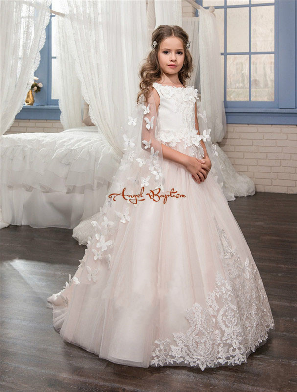2017 New Arrival pink Princess flower girls dresses appliques lace with train girls birthday party dresses kids formal wear nimble dresses for girls lace appliques princess party cloth