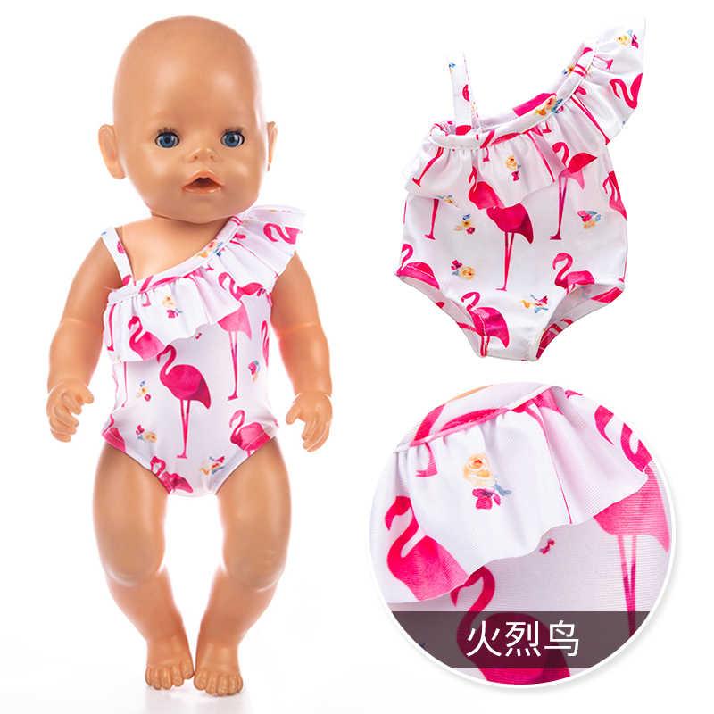 Poppenkleertjes Fit 18 Inch 43Cm Geboren Nieuwe Baby Pop Rode Lippen Van Flaming Tetrafolium Badpak Accessoires Voor Baby verjaardagscadeau