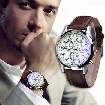 Men's Watch Blue Ray 2018 Leather Band Quartz Analog Wristwatch Retro Luxury  Watches Male Clock Casual  Bracelet  Dropship F529