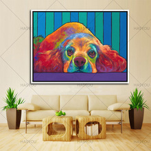 large handmade Morden canvas Paintings Handpainted cartoon dog acrylic Oil painting On Canvas colorful animal picture Wall Art