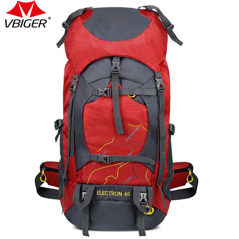 Vbiger  Men and  Women Climbing Outdoor Backpack Bag Waterproof Backpacking Travel Hiking Sports Bags Big Capacity 60L mountec large outdoor backpack travel multi purpose climbing backpacks hiking big capacity rucksacks sports bag 80l 36 20 80cm