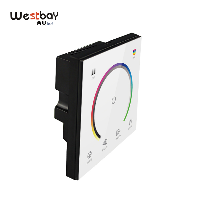RGBW Touch Panel Switch Crystal DC12-24V Controller Light Dimmer Switch LED Strip Light Switch Tempered Glass Wall Switch