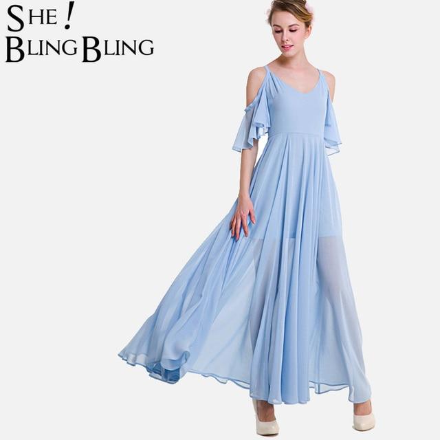 SheBlingBling Plus Size High Waist Chiffon Dress Fashion Open Shoulder  Flutter Sleeve Swing Dress Women Cami Maxi Dress 6537f3119e99