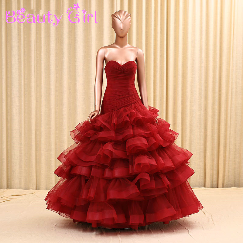 Red And White Ball Gown Wedding Dress: Elegant Tiered Organza Skirt Ball Gown Burgundy/White