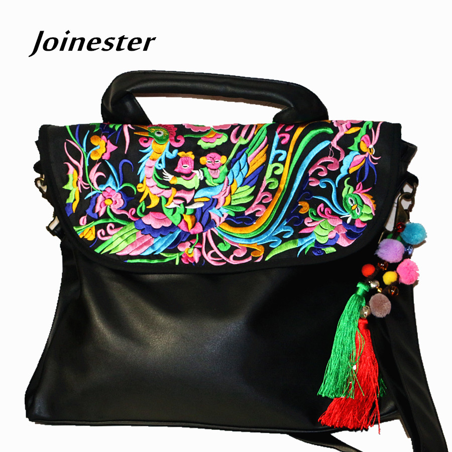 PU Soft Leather Shoulder Bags for Women 2018 Embroidered Crossbody Bag Flap Vintage Top Handle Casual Hand Tote Messenger Bag vintage embroidered strapless corset for women