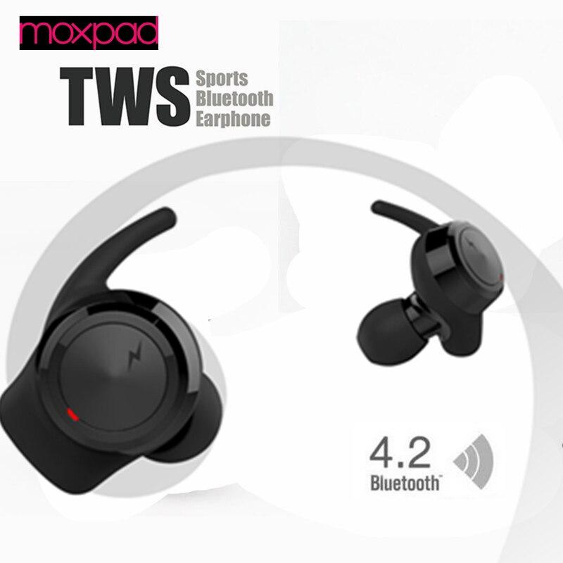 2017 NEW Moxpad M3 True TWS Wireless Bluetooth Earphones In Ear Headset BT4.1 Mini TWS Earphone for iphone 7 Earbuds Stereo dacom tws 7s true wireless bluetooth headset mini bluetooth 4 2 wireless earpiece earbuds in ear earphone for iphone 7 android