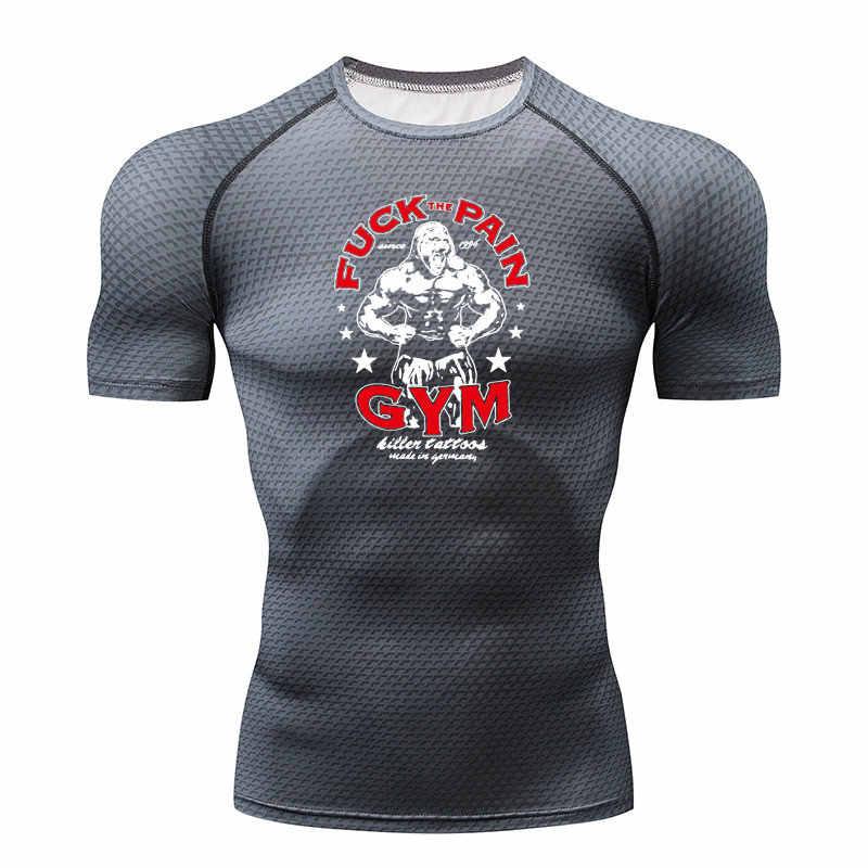Baru Kompresi Kemeja Pria 3D Cetak T-shirt Lengan Pendek Kebugaran Pria Cepat Kering Kemeja MMA Shuaiku merek T T-shir