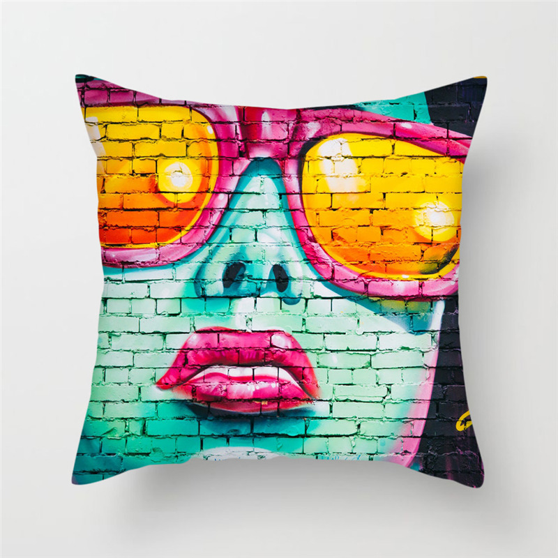 Fuwatacchi Home Decor Abstract Painting Cushion Cover Horror Style Portrait Pillows Cover for Chair Sofa New 2019 Pillowcase in Cushion Cover from Home Garden
