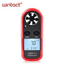 Мини цифровой Ручной измеритель скорости ветра весы Анемометр Термометр WT816 WINTACT