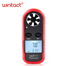 Free shipping Mini Digital handheld Wind speed meter scale Anemometer Thermometer WT816 WINTACT