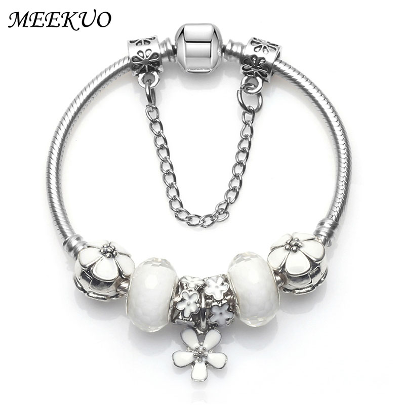2018 Fashion Women Bracelet 925 Unique Silver Crystal Bead Charm Bracelet For Women Fine Jewelry Pandora Bracelets Gift