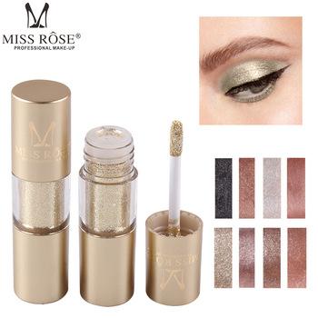 MISS ROSE 8 kolorów makijaż brokat Shining Eyeshadow Metal płynny cień do powiek pojedynczy kolor Nude makijaż kosmetyki pigmentowe TSLM2 tanie i dobre opinie CN (pochodzenie) Jedna jednostka łatwe do noszenia DŁUGOTRWAŁY Naturalne Wodoodporny 5 ml W jednym kolorze CHINA GZZZ