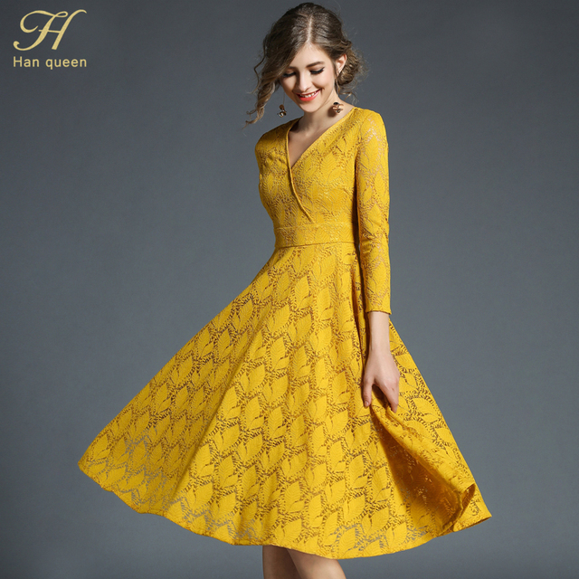 H Han Queen 2018 Spring Womens Lace Dress Elegant Fashion Hollow Out Vestido  Business Casual Slim ca323ff726ab