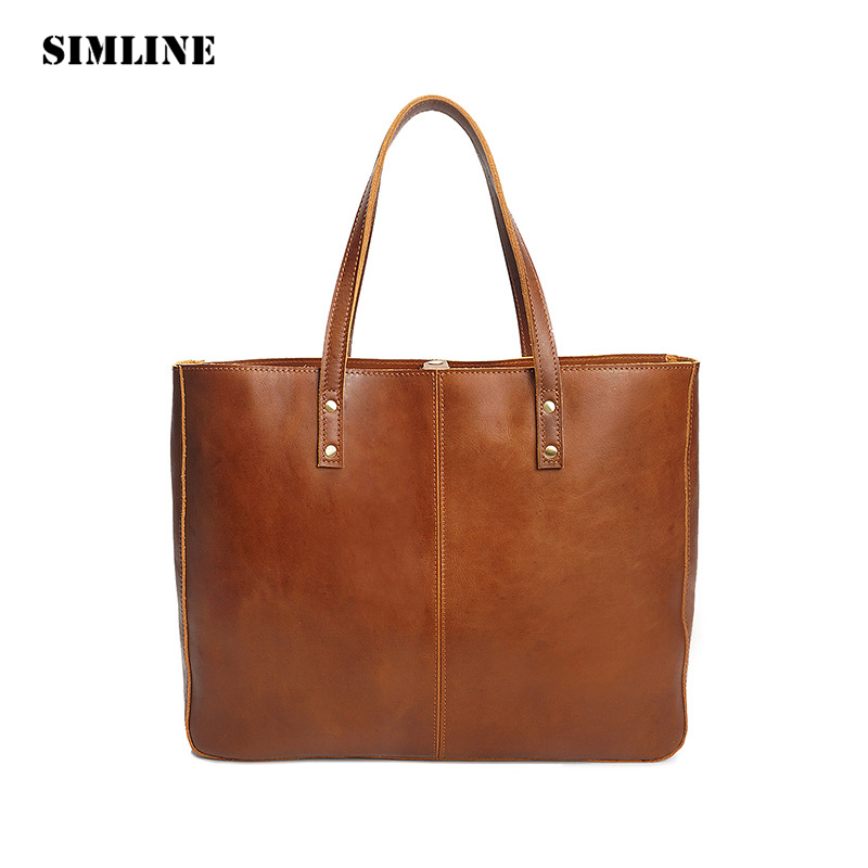 SIMLINE Vintage Genuine Cow Leather Women Female Large Capacity Tote Handbag Handbags Shoulder Bag Bags Casual Totes For Ladies new arrival casual women shoulder bags genuine leather female big tote bags luxury ladies handbag large capacity messenger bag