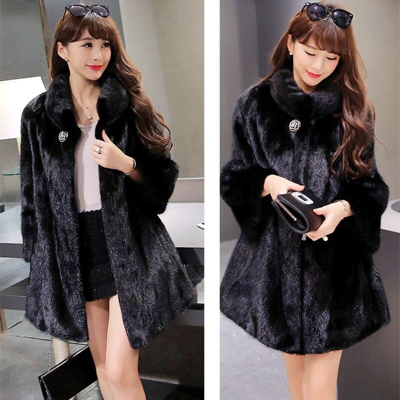 Կանայք Faux Fur Coat Jacket Ձմեռային մորթյա - Կանացի հագուստ - Լուսանկար 4