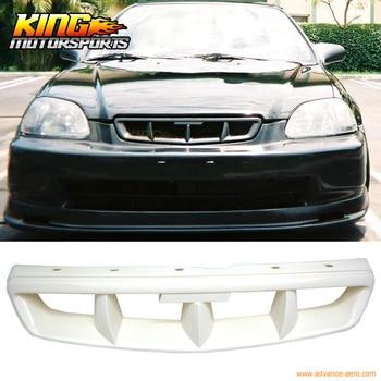 Cocok untuk 1999-2000 Honda Civic Mugen Gaya Hitam Mesh ABS Depan Hood Grille Grill