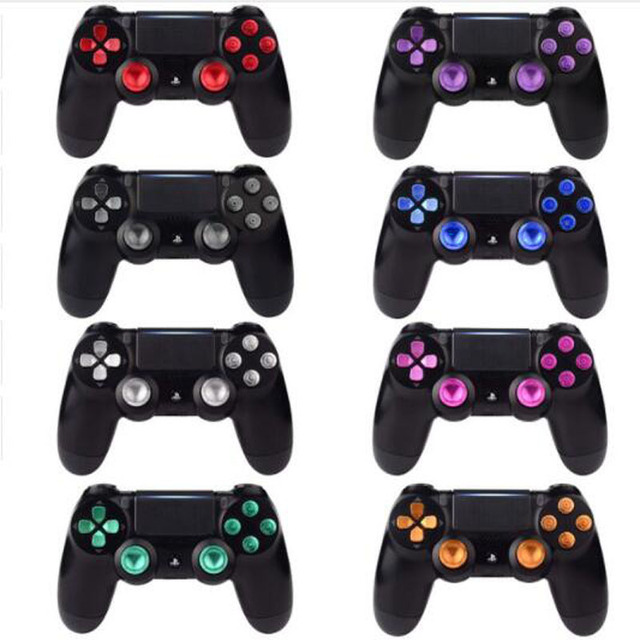 Metallo Joystick Analogico ThumbStick Grip Tappi + Dpad Action D Pad Bottoni per Sony Playstation Dualshock 4 PS4 DS4 gamepad Controller