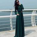 Verano de la vendimia de las mujeres abaya islámico musulmán de manga larga cóctel largo maxi dress retro vintage 50 s 60 s rockabilly dress vestido