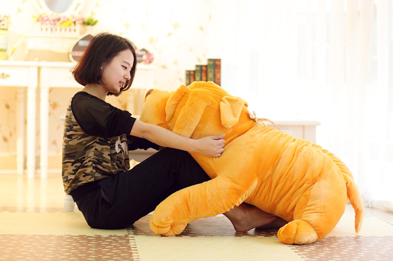 Super mignon Shar Pei chien jouet en peluche dessin animé poupée en peluche animaux jouets 120 cm grande taille doux jouets ressemblance oreiller livraison gratuite