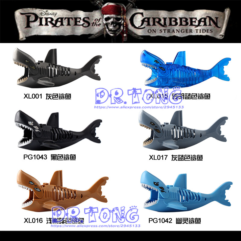 6pcs/lot Super Heroes Ghost Zombie Shark Jack Sparrow Pirates of the Caribbean Figures Building Blocks Toys Child Gifts Xl015