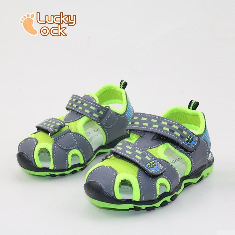 2017 New Style Children Beach Sandals Fashion Kids Shoes Cotton Fabric Boy Casual Sandals Non-Slip Hollow Air Summer Sport Shoes