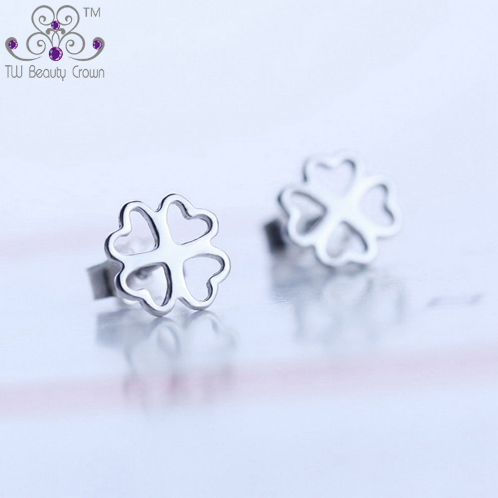 ed3c17e03 100% Real Solid 925 Pure sterling Silver Lovely 4 Leaf Clover Heart Stud  Earrings For Young Lady Women Fashion Korean Jewelry-in Stud Earrings from  Jewelry ...