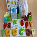 Brinquedos de madeira, AUXILIARES de ensino montessori, brinquedos educativos para crianças, carta quebra-cabeças de inteligência, cognitivo alfabeto