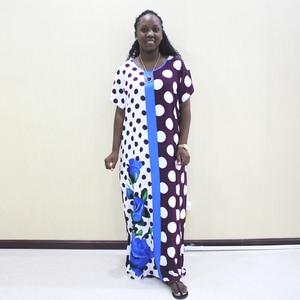 Image 5 - Dashiki アフリカ女性のためのポルカドット綿半袖ロングドレス