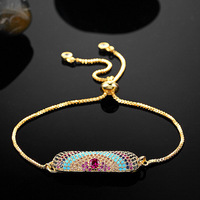 New Gold Plated Turkey Evil Eye Bracelets For Women Pulseira Brand Hamsa Evil Eyes Zircon Pulseiras