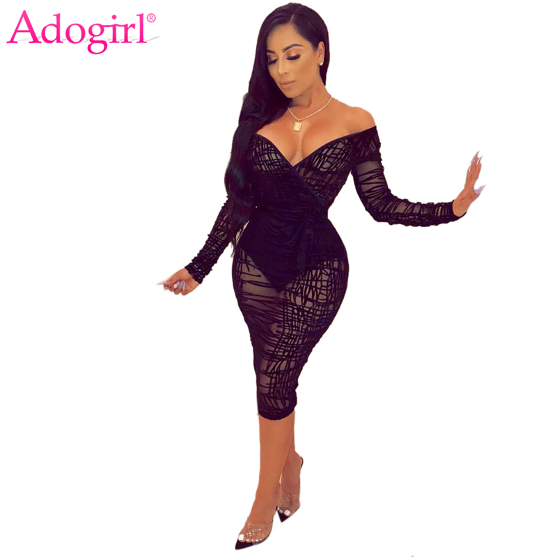 Adogirl Ruffle Sheer Lace Bodycon Dress Plus Size S-4XL Women Sexy V Neck Off Shoulder Long Sleeve Sheath Midi Club Party Dress