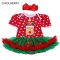 Deer Christmas Costume Reindeer Dress Newborn Polka Dots Toddler Lace Tutu Red Headband Infantil Bebe Vestido Girls' Clothing