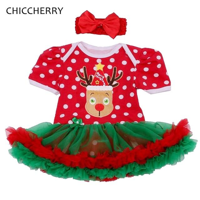 ab39c8ce2 Reeindeer Trajes de Navidad para Recién Nacido Niña Lunares Lace Tutu Dress  Set Diadema Vestido De