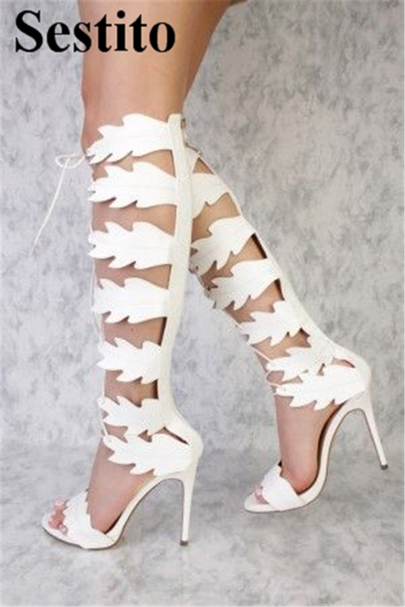 Fashion White Leaves Cross-tied Peep Toe Super High Heel Party Women Sandals Thin Heels Back Zipper Ladies Sandals Summer Shoes super high 8cm up pump women fashion cross tied shoes peep toe sandals ladies party casual wedding shoes 2 colors