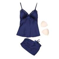 Mùa hè trẻ cô gái quần áo ngủ đồ ngủ & quần short đặt thời trang của phụ nữ ren satin không tay pijamas sets quần ngắn ng