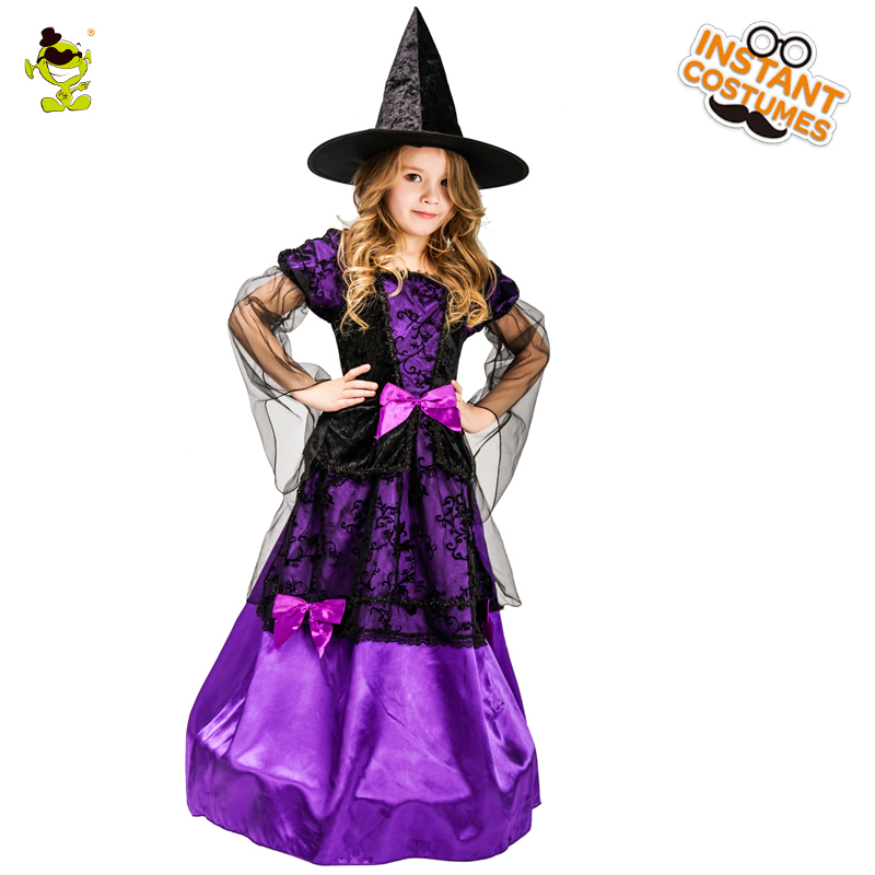 Girl S Mystical Witch Costume Kids Purple Noble Witch Dress With Hat For Halloween Party Fancy Dress Costumes Girls Costumes Aliexpress