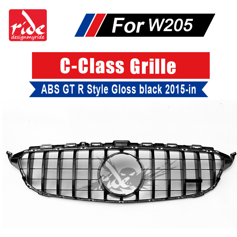 W205 GT R Style Front Grille ABS Gloss Black For MercedesMB C-Class C180 C200 C300 Sports Without sign Grills 15-18