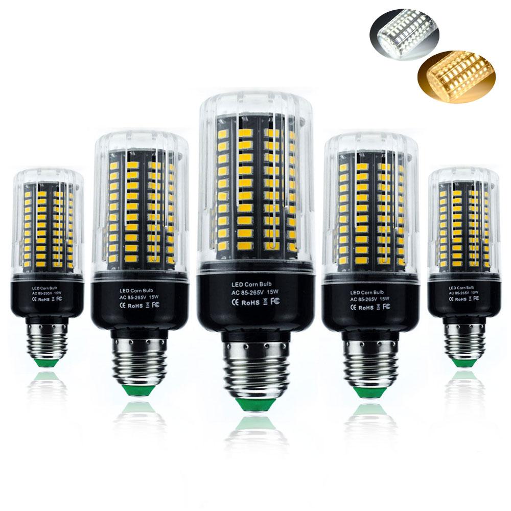 LED Lamp Smart IC E14 E27 LED Bulb SMD5736 3W 5W 7W 9W 12W 15W 18W No Flicker Chandelier Corn Light FOR Home Decor AC 85V-265V