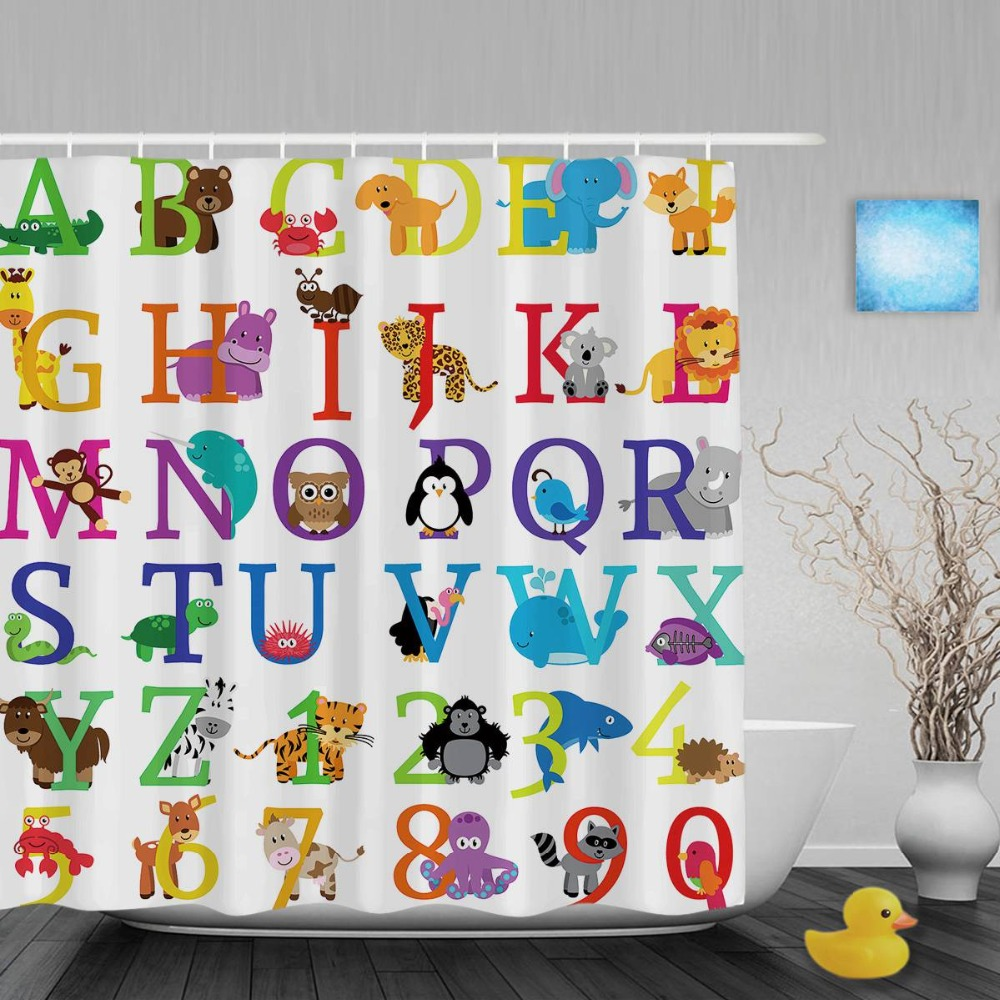 Animals Alphabet Letters & Nunbers Kids Shower Cutains Cute Baby Nursery Bathroom Curtains Polyester Waterproof Fabric With Hook