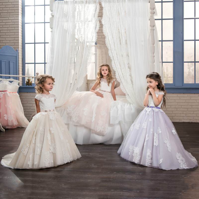 New Arrivals Girls Lace Appliques Cap Sleeves Ball Gowns Chapel Train with Beading Sash Flower Girls First Communion Dresses new hot pretty ivory or white appliques tulle beads sash flower girl dresses with train white girls first communion dresses