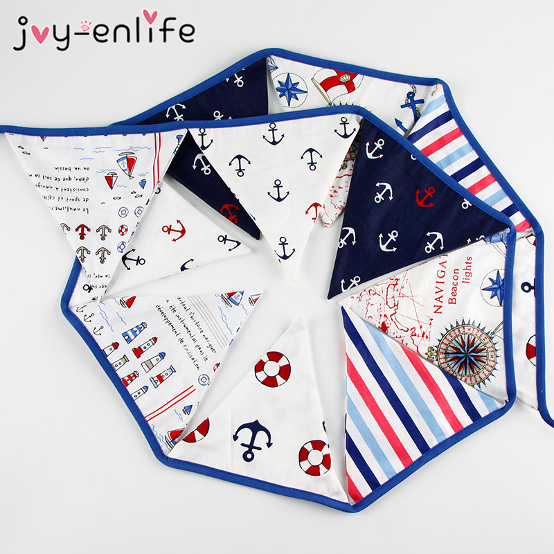 JOY-ENLIFE 1set 3.3m Pirate Marine Bunting Banner Cotton Cloth Hanging Party Triangular Flags Holiday Pennant Decor Photo Props