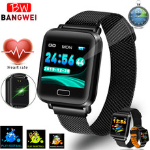 Smart bracelet Blood Pressure Heart Rate Monitor Magnet buckle stainless steel strap smart Band Sport Fitness tracker Wristband(China)
