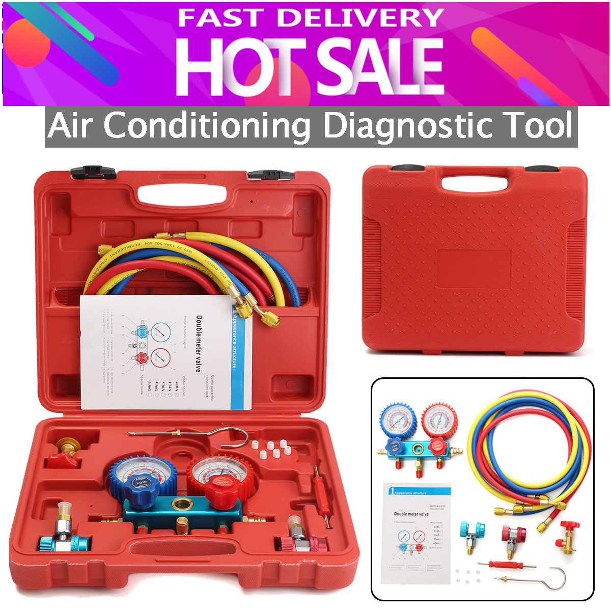 лучшая цена R134A HVAC A/C Refrigeration Kit AC Manifold Gauge Set Auto Service Kit Car Air Conditioning Repair Fluorine Filling Tool