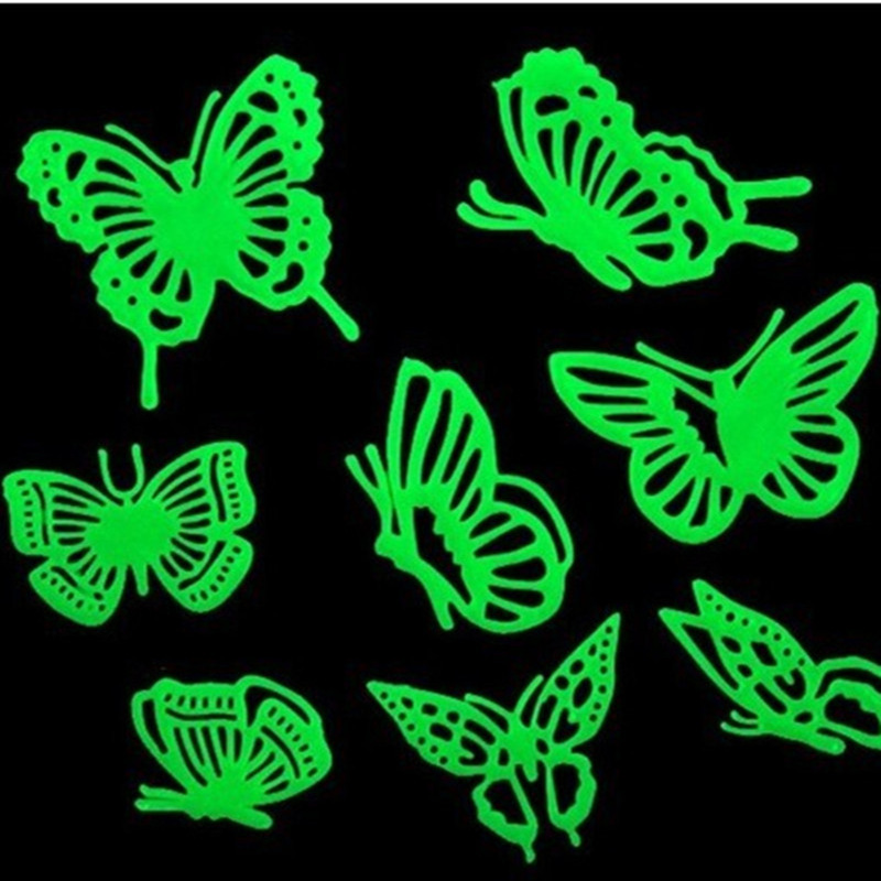 SAILEROAD 8Pcs/Bag Butterfly Luminous Stickers Stereo 3D Fluorescent Beautiful Cute Sticker Glow In The Dark Stars For Kids Gift