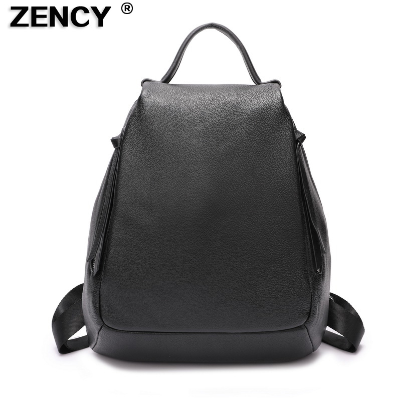 ZENCY Large Soft Calfskin Women Backpack Silver Hardware Italian First Layer Cow Leather Female Travel Bag